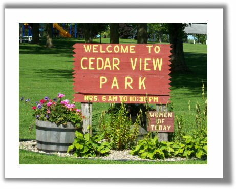 Sign at the entrance to Cedar View Park Nashua Iowa